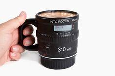 The Get Into Focus Lens Mug - Cozy up with a lens of coffee. ($15.00, http://photojojo.com/store)