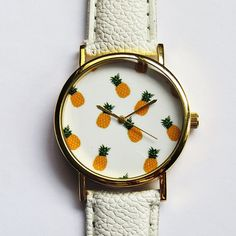Tropical Fruit Pineapple Watch Vintage Style Leather por FreeForme, $12.00