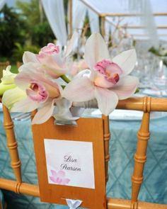 """See the """"Tropical Flowers and Seating Card"""" in our Beach Seating Cards and Displays gallery"""