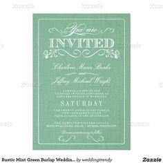 "Rustic Mint Green Burlap Wedding Invitations 5"" X 7"" Invitation Card"
