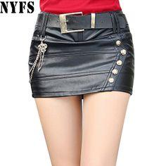 925aafa4290 Fair price Dropshipping!2017 Autumn Winter women black color Slim PU  leather skirt Hip faldas
