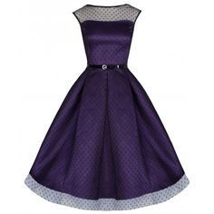 'Aleena' Russian Violet Polka Dot 50's Inspired Ball/Prom Dress ($65) ❤ liked on Polyvore featuring dresses, swing dress, black, vintage style prom dresses, see through dress, skater skirt i black flared skirt