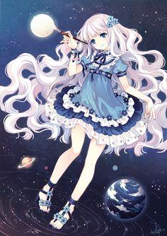 blue_eyes dress earth face floating_hair legs long_hair moon nail_polish original paintbrush pink_hair pixiv pixiv-tan planet sandals skirt solo space star tearfish very_long_hair