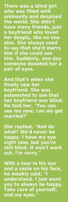 Moral of the story: The only way to have a happy marriage is if you aren't blind? (Hm)