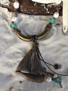 Sailboat Sea Glass and Leather Necklace 412 by CoastalCreations98