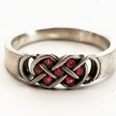Celtic Ring Red Ruby Stones With Infinity Knot Design by Spoonier