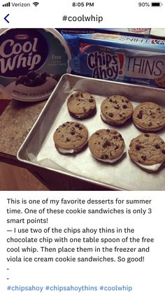 for 4 cookies. for cool whip. Ww Recipes, Snack Recipes, Dessert Recipes, Recipies, Healthy Desserts, Delicious Desserts, Yummy Food, Healthy Food, Weight Watchers Snacks