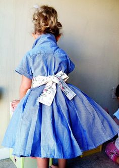 """""""For the dress I went to the thrift store and got 2 mens shirts and resized them to fit to make the bodice. For the skirt I used 2 mens shirts that I Fashion Kids, Look Fashion, Diy Fashion, Toddler Fashion, Diy Kleidung, Diy Vetement, Look Retro, Fru Fru, Creation Couture"""