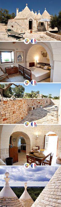 Wir stellen Euch heute das Ferienhaus Due Trulli in der Urlaubsregion Apulien in Süditalien vor. Dort wohnst Du in einem ganz besonderen Steinhaus. - Platz für 4 Personen - ab 480 € pro Woche