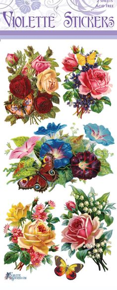 Butterfly Roses Victorian Stickers                                                                                                                                                     More