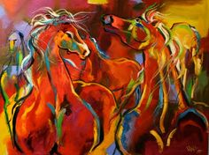 'Texas Herd on the Move' Colorful Abstract Horse Equine Art by Texas Artist Laurie Pace