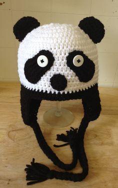 Crochet Panda Hat by AuntRosiesCrochet on Etsy