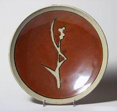 Iconic Hamada Sugarcane brushwork: Plate by Shoji Hamada from Jeffrey Spahn Gallery