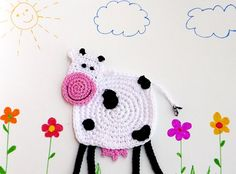 Crochet Cow Coaster Animal Coaster 1 piece by MonikaDesign on Etsy