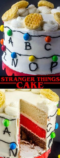 Stranger Things Cake {A Fun Fan Filled Stranger Things Layer Cake} Stranger Things/Cake/Layer Cake Fans unite! This Stranger Things Cake is a delicious chocolate, white and red cake decorated to the nines to represent all the fun this show has to offer! via @amiller1119