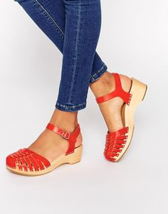 Swedish Hasbeens | Swedish Hasbeens Red Leather Snake Effect Flat Shoes at ASOS