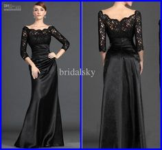 Wholesale Black Pleated Sash Bateau Lace Column Floor length Mother of the Bride Gowns Evening Dresses, Free shipping, $89.6-97.66/Piece | DHgate