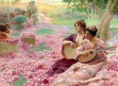 """""""The Rose Festival"""" von Henry Siddons Mowbray (geboren am 5. August 1858 in Alexandria, Ägypten, gestorben am 13. Januar 1928 in Washington, D.C.), US-amerikanischer Maler."""