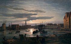Dahl - Copenhagen Harbour by Moonlight - Johan Christian Dahl