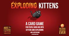 Exploding Kittens is a highly-strategic, kitty-powered version of Russian Roulette. Players draw cards until someone draws an Exploding Kitten, at which point they explode, they are dead, and they are out of the game. Adult Games, Games For Girls, Exploding Kittens Card Game, Goat Toys, Press Your Luck, Game Quotes, Teen Kids, You Draw, Funny Games