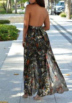 Black Floral Print Deep V-neck Chiffon Short Jumpsuit With Maxi Overlay