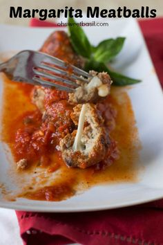 Easy Mozzarella Stuffed Turkey Meatballs - Oh Sweet Basil