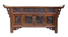 Chinese Brown Floral Motif Long Sideboard Console Table Cabinet cs2324