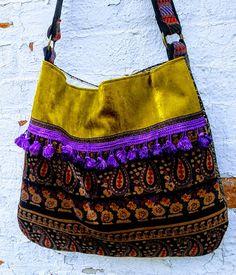 Purple boho bag out of vintage velvets and tassels