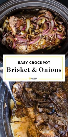 Slow Cooker Brisket and Onions Recipe. This EASY and SIMPLE comforting crockpot … Slow Cooker Brisket and Onions Recipe. Crock Pot Recipes, Onion Recipes, Beef Recipes, Cooking Recipes, Pasta Recipes, Beef Brisket Recipes Crockpot, Game Recipes, Crockpot Meals, Frozen Roast In Crockpot