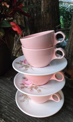 Vintage Melmac 4 Pink Coffee Cups and 3 Rose patten Saucers