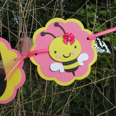 Hot Pink and Yellow Happy Birthday Girl Bumble by DesignsByLuly, $25.00