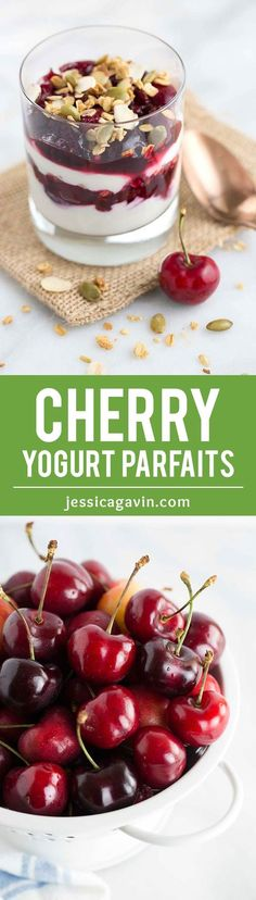 Cherry Yogurt Parfaits with Crunchy Granola - A healthy and simple breakfast solution! Two ingredient fresh cherry compote is layered with creamy yogurt and granola. | jessicagavin.com