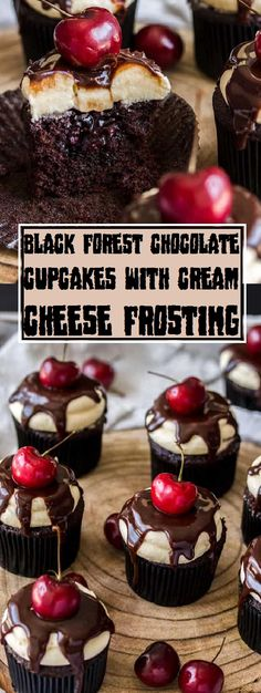 Black Forest Chocolate Cupcakes with Cream Cheese Frosting has all the taste of black woodland cake in the shape of cupcake and Cream Cheese Frosting that is irresistible. Delicious Cake Recipes, Cupcake Recipes, Sweet Recipes, Cupcake Cakes, Dessert Recipes, Gourmet Cupcakes, Sweet Desserts, Dessert Ideas, Baking Recipes