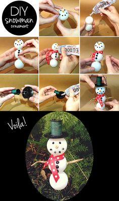 DIY ping pong ball snowman!