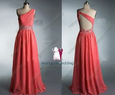 coral prom dress, open back prom dress, long prom dress 2014, chiffon prom dress, cheap prom dress, one shoulder prom dress,bridesmaid dress on Etsy, $149.00
