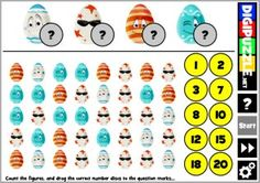 Easter Eggs Count-It | Digipuzzle.net Easter Games, Learn To Count, Easter Eggs