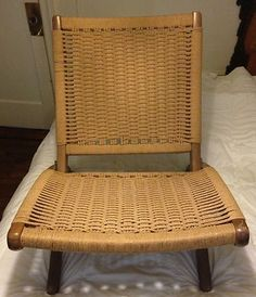 hans wegner folding chair 1949 oak wood and woven cane folding