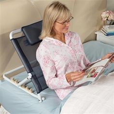 """GREAT IDEA!!!  Like a lawn chair for your bed, this back rest adjusts to five angles, from a low-lying 3½"""" to an upright sitting position, making it perfect for managing acid reflux. Cushioned headrest adds comfort. Lightweight aluminum frame is powder coated. Folds flat for storage. 24""""x23""""x3½""""."""