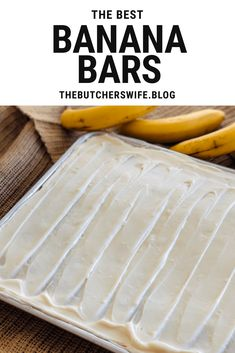 The BEST Banana Bars you will ever eat! Sweet, moist and full of delicious banana flavor with a smooth cream cheese frosting Banana Recipes Easy, Banana Dessert Recipes, Easy Banana Bread, Apple Bread, Cake Bars, Dessert Bars, Yummy Snacks, Delicious Desserts, Yummy Treats