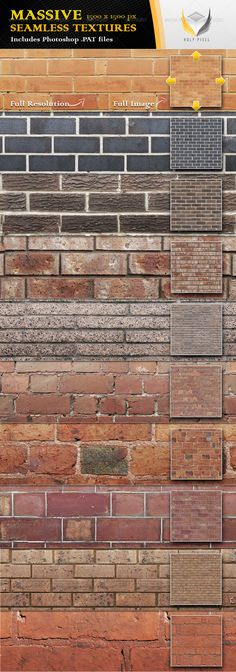 10 Seamless Clean Brick Textures - Urban Textures / Fills / Patterns