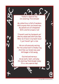 My First Day in Third Grade Poem image 2