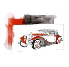 Retro car painting Old cars drawings Original by aquatory on Etsy, $109.00