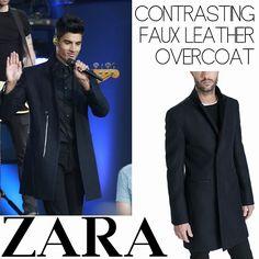 Male Fashion Trends: Siva Kaneswaran y su Contrasting Faux Leather Overcoat de Zara