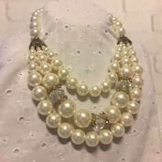 Fashion Multi Strand White Faux Pearl Beads Bib Rhinestone Chunky Necklace #Unbranded
