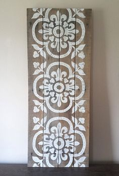 Hey there, thanks for clicking by to take a look at my art! This Damask panel features a floral damask theme in white and beige tones hand-painted on a beautiful custom built reclaimed wood canvas. Elegant and versatile, it can be hung vertically or horizontally. The original has been sold. This piece is made to order, so please convo me prior to purchase if you would like color or sizing changes. Please note that variations in the wood may occur, due to the nature of reclaimed wood! =) ...
