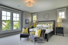 Grey and yellow master bedroom ideas view in gallery add a couple of throw pillows to . grey and yellow master bedroom ideas Black And Grey Bedroom, Grey Bedroom Design, Bedroom Paint Colors, Bedroom Color Schemes, White Bedroom, Bedroom Designs, Small Apartment Bedrooms, Apartment Bedroom Decor, Master Bedrooms