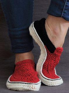 Crochet - Vans Style Slippers Crochet Pattern - #RAC2109