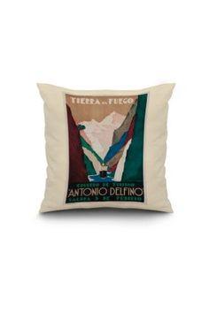 Argentina - Antonio Delfino - Tierra del Fuego - (artist: Tabrega) - Vintage Advertisement (16x16 Spun Polyester Pillow, White Border), Women's, Size: 16 x 16 Pillow (Natural Border), Multi