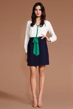 Shoshanna white, navy, & green dress