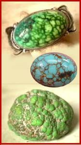 Carico Lake Turquoise.  It's clear, iridescent, spring green color is due to its zinc content and is highly unique. Carico Lake turquoise is also found in a dark blue-green color with a black or brown, spider web matrix.